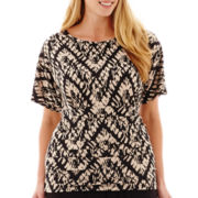 Alyx® Short-Sleeve Knit Kimono Top with Tummy Panel - Plus