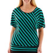 Alyx® Short Dolman-Sleeve Striped Knit Top - Plus