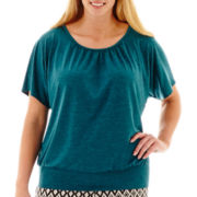 Alyx® Short-Sleeve Banded Top with Lattice Back - Plus