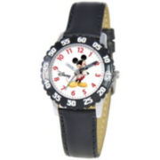 Disney Kids Time Teacher Leather Mickey Watch