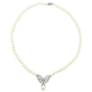 jcpenney.com | Freshwater Pearl Butterfly Necklace In Sterling Silver