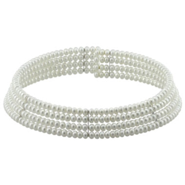 jcpenney.com | Freshwater Pearl 4-Row Choker Necklace Sterling Silver