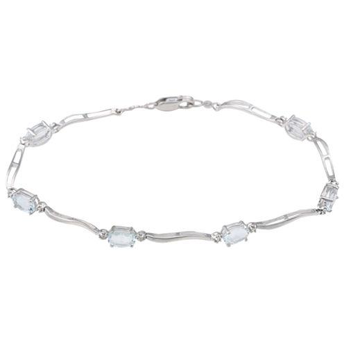 Genuine Aquamarine & Diamond-Accent Bracelet