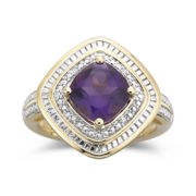 2 CTW. Amethyst & Diamond-Accent Ring