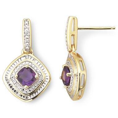 jcpenney.com | Gold-Plated Sterling Silver Amethyst & Diamond-Accent Earrings