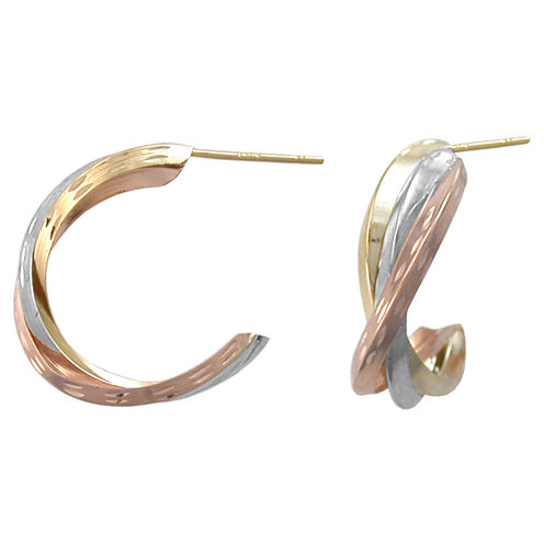 14K Tri-Tone Gold Crossover Hoop Earrings