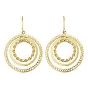 10K Yellow Gold Circle Drop Earrings