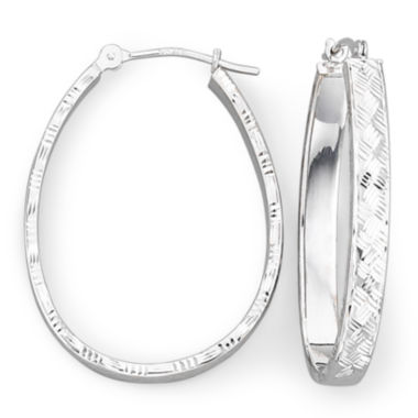 jcpenney.com | 14K White Basketweave Hoop Earrings