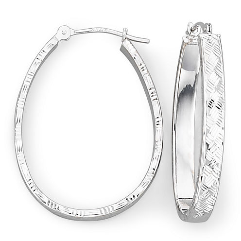 14K White Basketweave Hoop Earrings