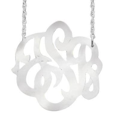 jcpenney.com | Personalized Sterling Silver 25mm Script Monogram Necklace