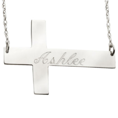 jcpenney.com | Personalized Sterling Silver Cross Monogram Necklace