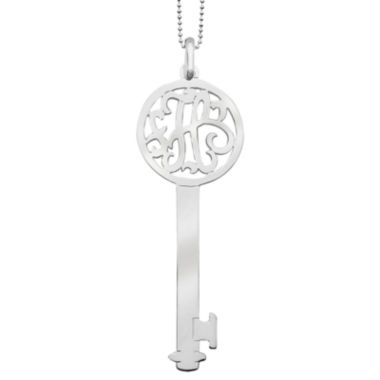 jcpenney.com | Personalized Sterling Silver 60mm Round Initial Key Pendant Necklace
