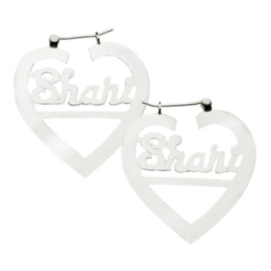 jcpenney.com | Personalized Sterling Silver Heart Name Earrings