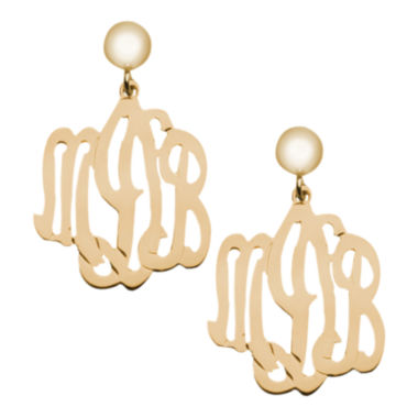 jcpenney.com | Personalized 12K Gold-Filled Monogram Drop Earrings