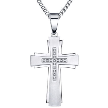 jcpenney.com | Mens 1/7 CT. T.W. Diamond Stainless Steel Cross Pendant Necklace