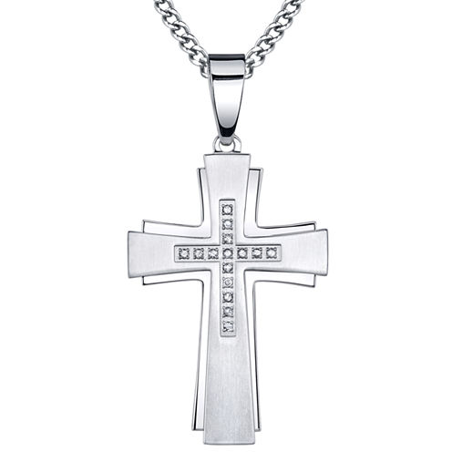 Mens 1/7 CT. T.W. Diamond Stainless Steel Cross Pendant Necklace