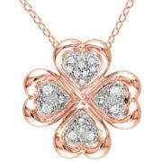 1/10 CT. T.W. Diamond Clover Pendant Necklace