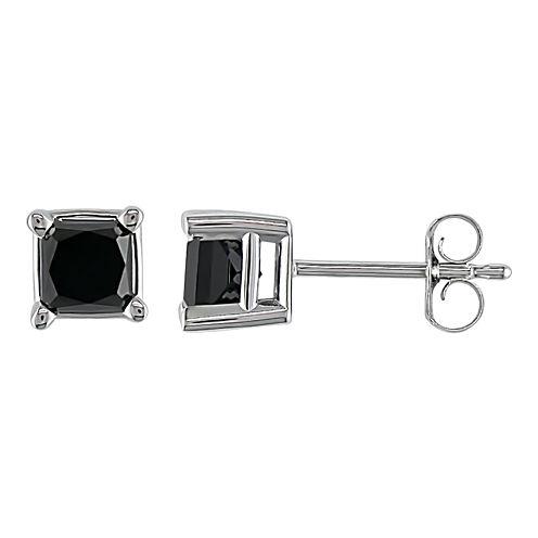 1 CT. T.W. Princess-Cut Color-Enhanced Black Diamond Stud Earrings
