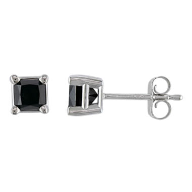 jcpenney.com | 3/4 CT. T.W. Princess-Cut Color-Treated Black Diamond Stud Earrings