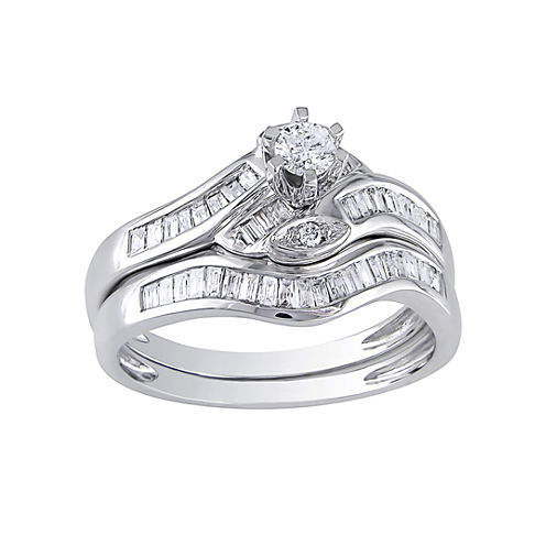 1/2 CT. T.W. Diamond Curvy Bridal Ring Set