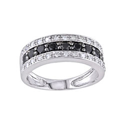 1/6 CT. T.W. Diamond & Color-Treated Black Diamond-Accent Wedding Band
