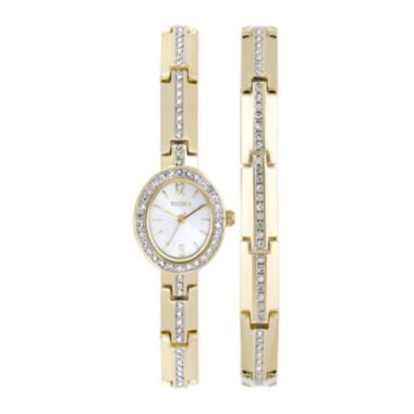 jcpenney.com | Elgin® Womens Gold-Tone and Crystal Watch and Bracelet