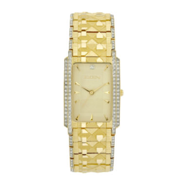 jcpenney.com | Elgin® Mens Gold-Tone & Crystal-Accent Rectangular Watch