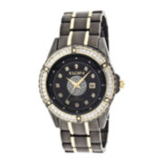 Elgin® Mens Crystal Black and Gold-Tone Watch