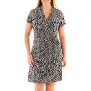 Liz Claiborne® Short-Sleeve Wrap Dress – Plus
