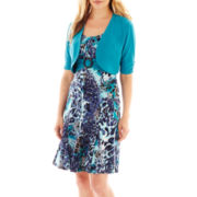 Perceptions Belted Print Dress with Jacket – Petite