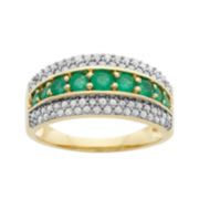 1/2 CT. T.W. Diamond & Emerald 10K Yellow Gold Ring