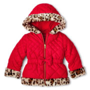 Pistachio Hooded Wildcat Print Faux Fur Jacket – Girls 2t-6t