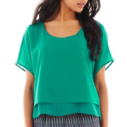 Bisou Bisou® Short-Sleeve Split-Back Crop Top