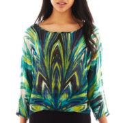 Bisou Bisou® Kimono-Sleeve Print Top