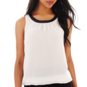 Bisou Bisou® Faux-Leather Trim Tank Top