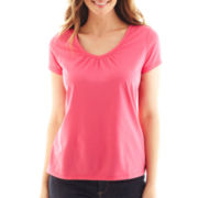 St. John's Bay® Short-Sleeve V-Neck Tee - Petite