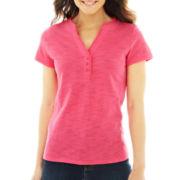 St. John's Bay® Ruffled Henley Shirt