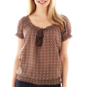 St. John's Bay® Short-Sleeve Smocked Peasant Top