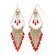 Decree® Gold-Tone and Red Fringe Chandelier Earrings