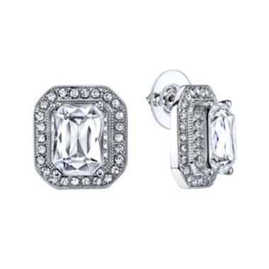 jcpenney.com | 1928® Jewelry Crystal Silver-Tone Button Earrings