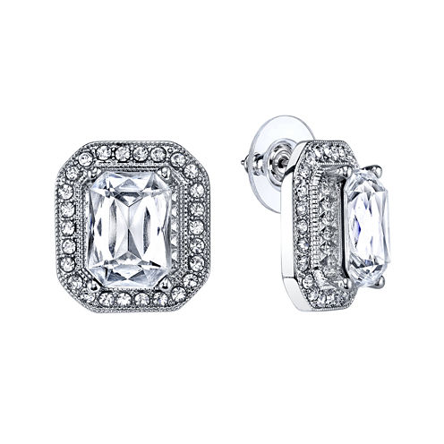 1928® Jewelry Crystal Silver-Tone Button Earrings