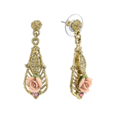 jcpenney.com | 1928® Jewelry Pink Rose and Crystal Gold-Tone Drop Earrings