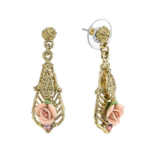 1928® Jewelry Pink Rose and Crystal Gold-Tone Drop Earrings