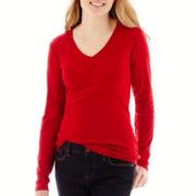 St. John's Bay® Long-Sleeve Essential V-Neck T-Shirt - Tall
