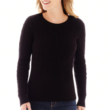 jcpenney.com | St. John's Bay® Long-Sleeve Cable Crewneck Sweater