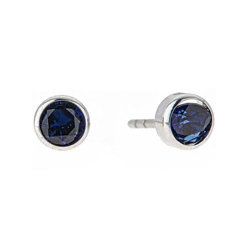 Round Blue Cubic Zirconia 14K Gold Stud Earrings