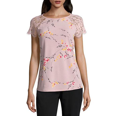 Worthington Lace Short Sleeve Crew Neck Shirt