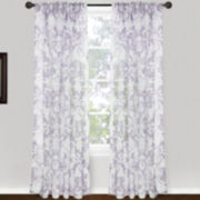 Magic Pleats™ Roccoco Scroll Pinch-Pleat Sheer Panel Pair