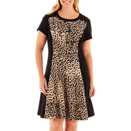 Studio 1 Cap-Sleeve Animal Print Dress - Plus