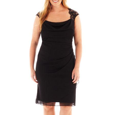 Scarlett Sleeveless Faux-Wrap Lace Trim Dress - Plus